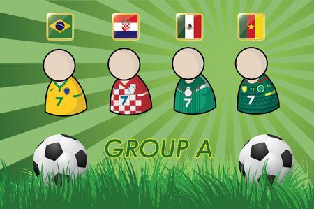 football-speler en vlaggen voor het kampioenschap van 2014 op gras achtergrond en voetbal bal vector illustratie