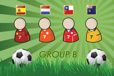 football Player and Flags for championship 2014 on grass background and soccer ball  vector illustration