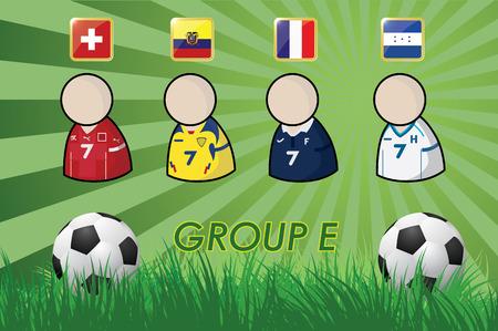 football-speler en Vlaggen voor kampioenschap 2014 op gras achtergrond en voetbal bal vector illustratie