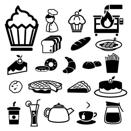 french toast: Bakery icons set  illustration