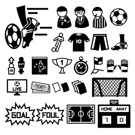 Football soccer icons set  illustration Vector