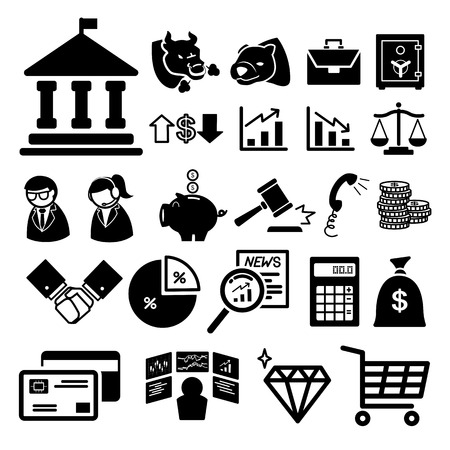 commercial real estate: Stock financial icons set  illustration