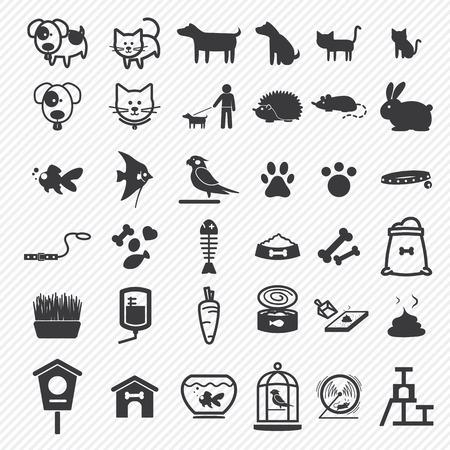 peces de colores: Iconos Mascotas establecen Vectores