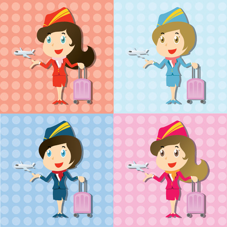 set of Beautiful stewardess with uniform and little airplane Vector