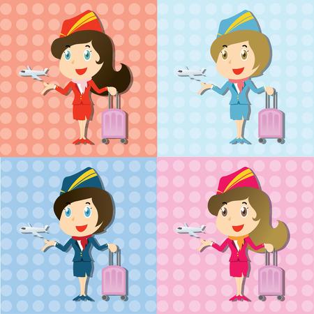 set van mooie stewardess met uniform en vliegtuigje