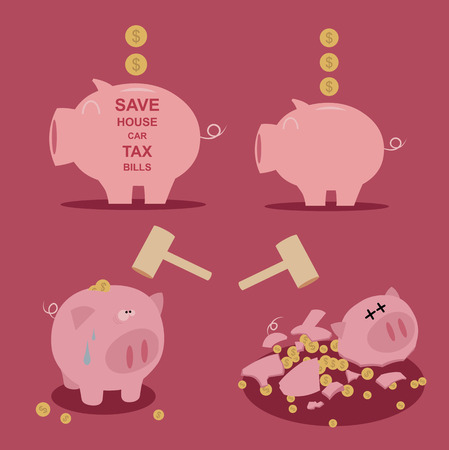 set van Piggy bank geld te besparen Stock Illustratie