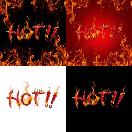 Tekst van rode hete chili peper vuur brandt