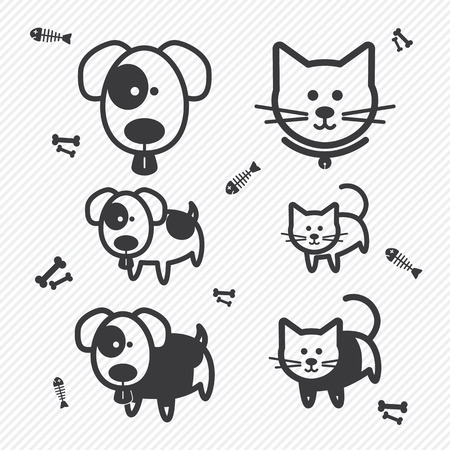 dog bone: Cat and Dog icons. illustration eps10 Illustration