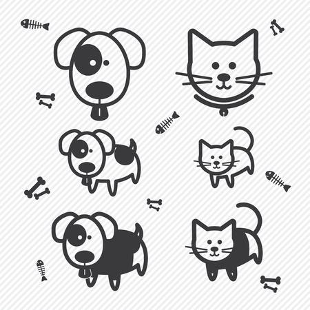 Kat en Hond iconen. illustratie eps10