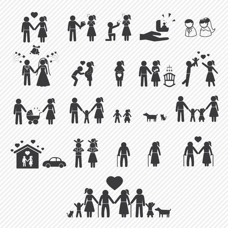 family icons set. illustration eps10 Stock Illustratie