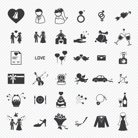 Hochzeit Symbole gesetzt. Illustration eps10 Illustration
