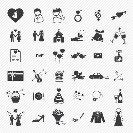 anniversario di matrimonio: Set di icone di nozze. illustrazione eps10 Vettoriali