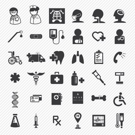 artsen en ziekenhuizen pictogrammen Set.Illustration