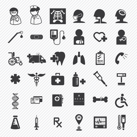 medical and hospital icons set.illustration