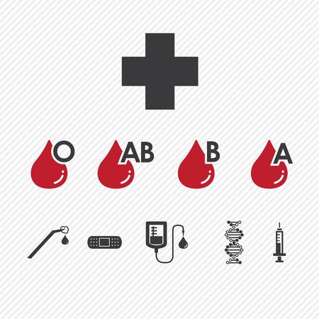 Bloeddonatie Group pictogrammen Set.Illustration