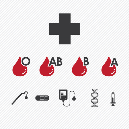 types: Blood donation Group icons set.illustration