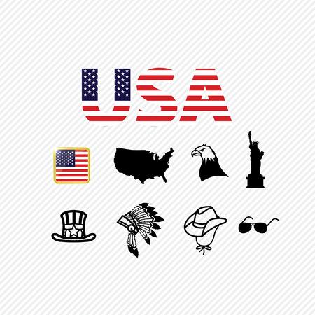 미국 아이콘을 설정합니다. 삽화 일러스트