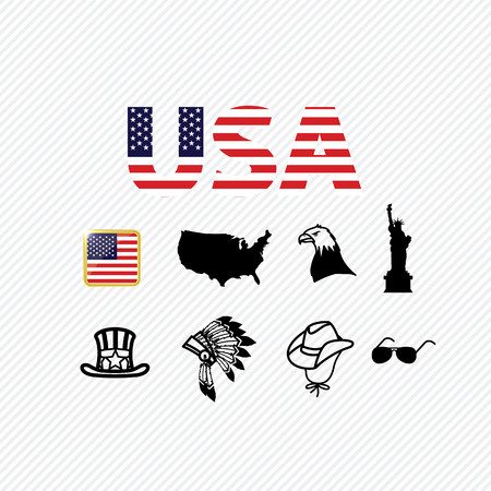 America icons set. illustration