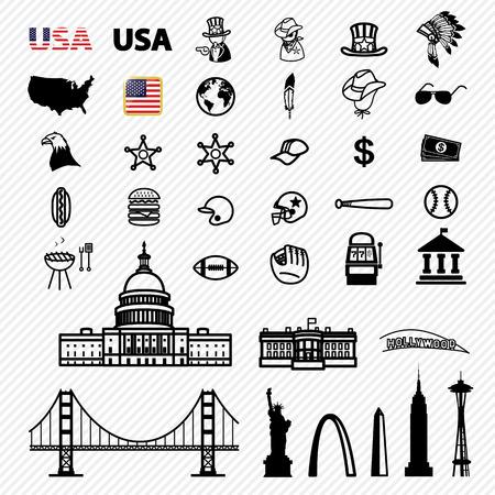 aigle royal: Icônes Amérique fixés. illustration