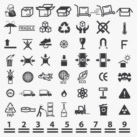 Paper box iconen set. illustratie eps10