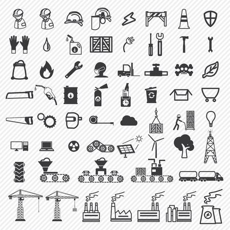 cinta transportadora: Plantas de f�brica de edificios industriales y de alimentaci�n iconos conjunto. eps10 Vectores