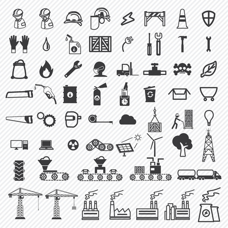 Industrial building factory and power plants icons set. illustration eps10 Illustration