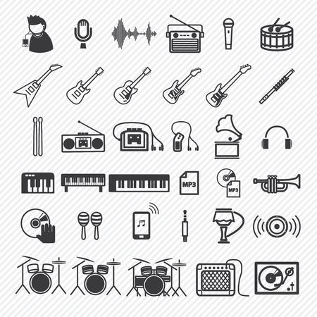 Music Icons set 1. illustratie eps10 Stock Illustratie