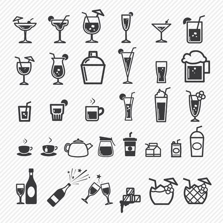 Cocktail iconen set. illustratie eps10 Stock Illustratie