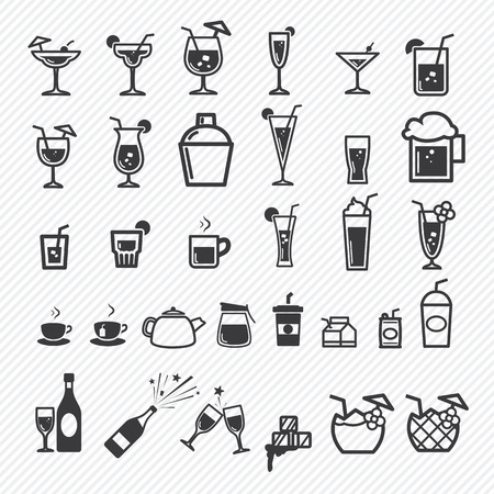 Cocktail icons set. illustration eps10