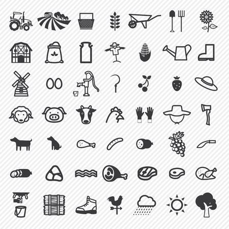 Landbouw iconen set. illustratie eps10 Stock Illustratie
