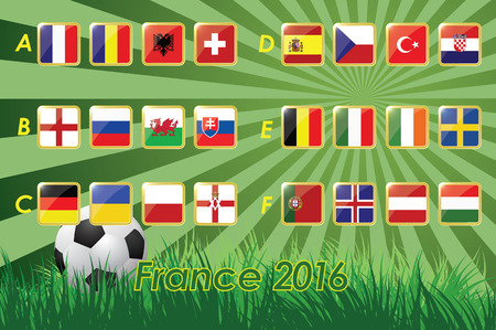 nations: Flags of European football championship 2016 on grass background and soccer ball. 24 nations. vector icons.
