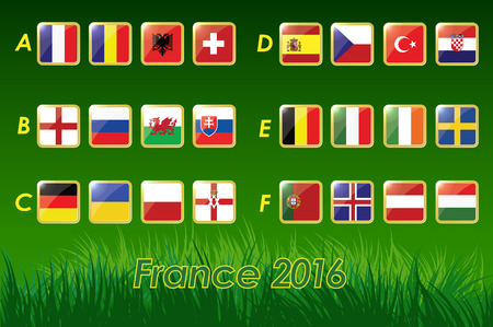 Flags of European football championship 2016 on grass background and soccer ball. 24 nations. vector icons.