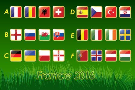 Vlaggen van Europese voetbalkampioenschap 2016 op gras achtergrond en voetbal. 24 naties. vector iconen.
