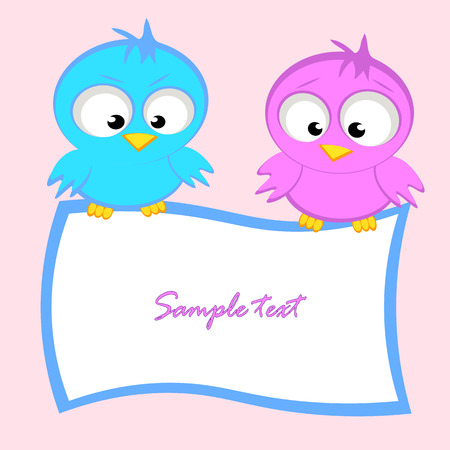 Cute invitation or greeting card template with cartoon birds Vector