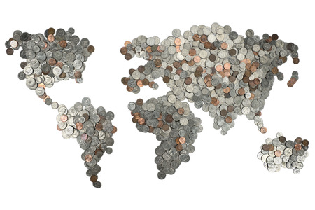 흰색 배경에 고립 된 동전 만든지도 스톡 콘텐츠