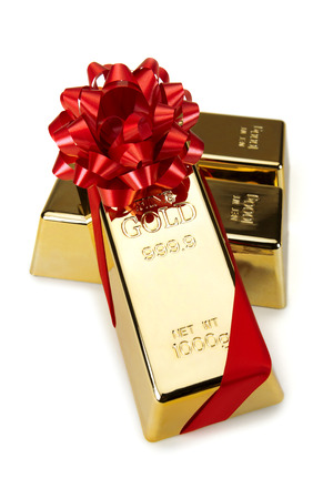 studio shots: Gold Bar with Red Ribbon, studio shots Stock Photo