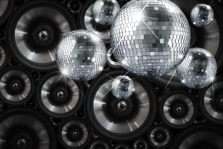 fiestas electronicas: Parte luces bola de espejos de discoteca con el fondo