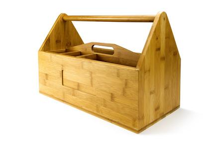Holz-Werkzeugkiste mit Werkzeug isoliert auf weiß Standard-Bild - 44260970