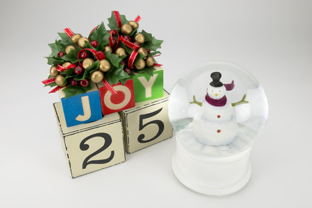 december 25th: Christmas calendar with 25th December on wooden blocks Stock Photo