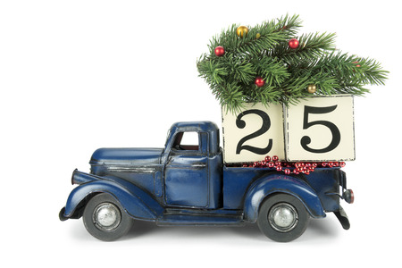 vintage truck: Christmas background. Pickup with christmas decoration