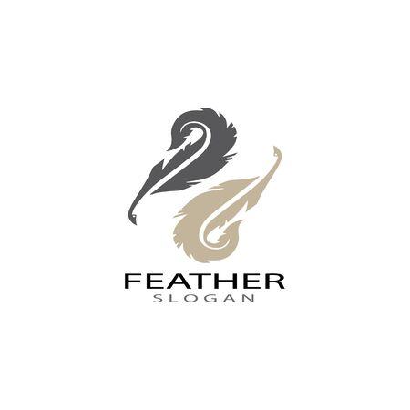 ilustration feather logo template vector Illustration