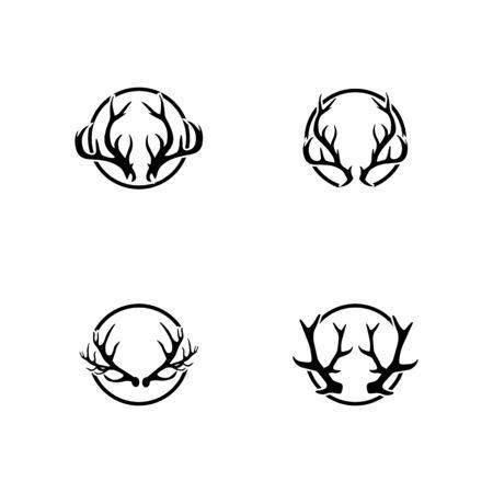 Deer antler horn ilustration logo vector template