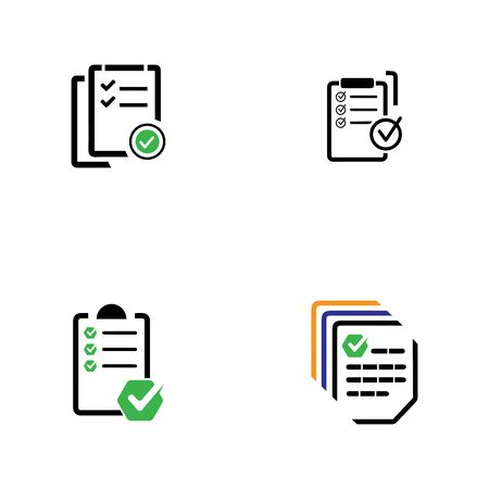 document icon with check and cross symbol vector illustration