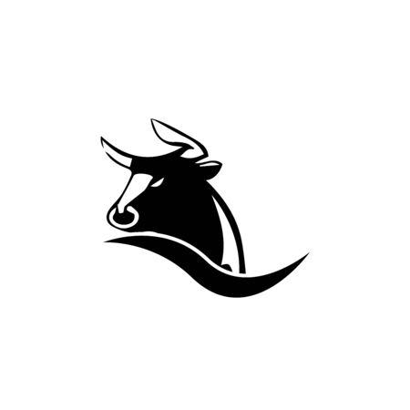Bull Horn.Bull head Vector Icon Logo Template Illustration Design