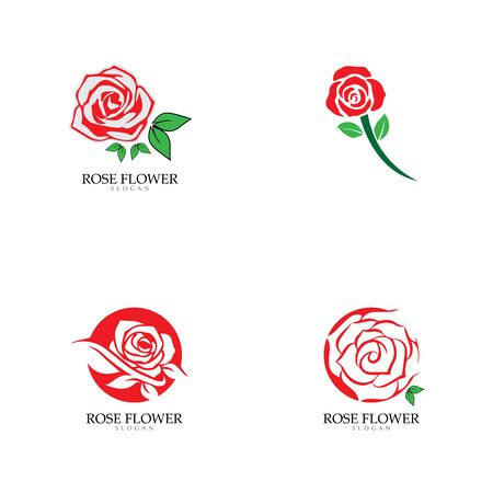 Beauty rose flower vector icon design template