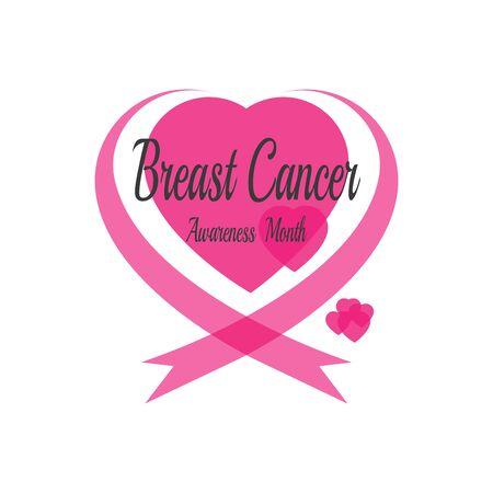 Pink ribbon for cancer awareness symbol, vector illustration