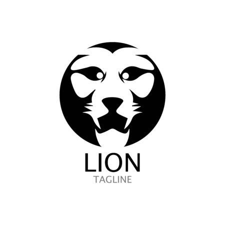 lion head logo template vector icon Banque d'images - 140500176