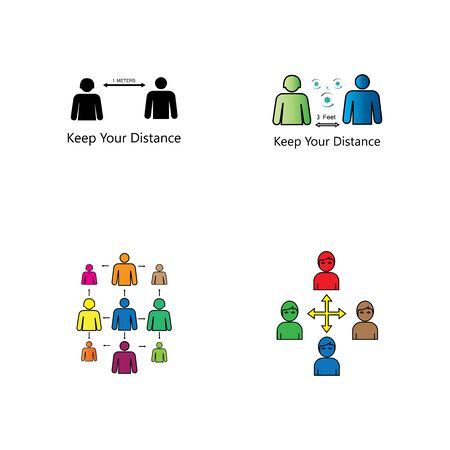 Social Distancing icon  and Self Quarantine  vector  illustration