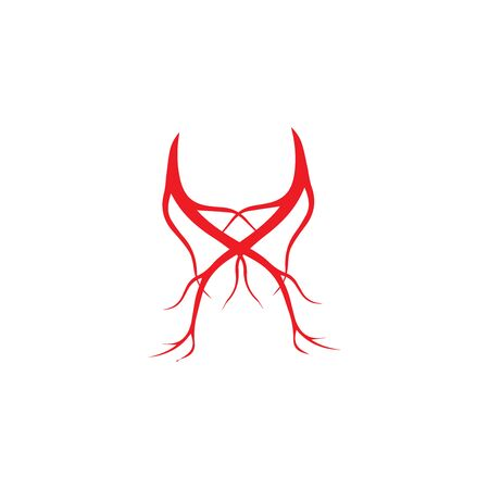 human veins, red blood vessels design and arteries Vector illustration isolated