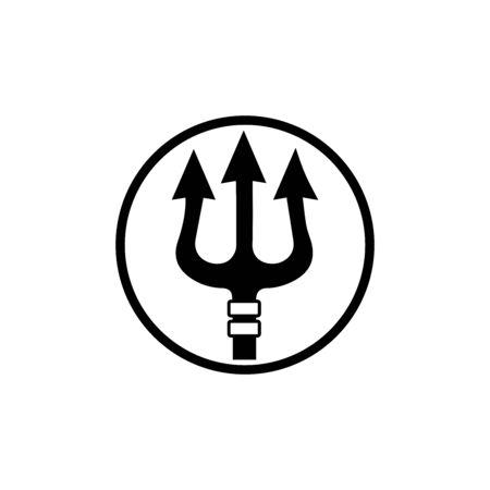 Vector de diseño de tridente y plantilla de ilustración de icono de poseidón